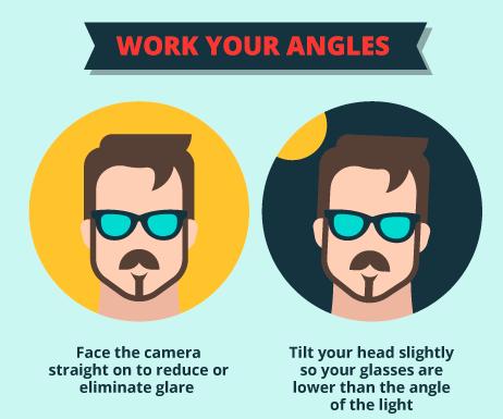 work angles, selfie, perfect selfie, glasses selfie