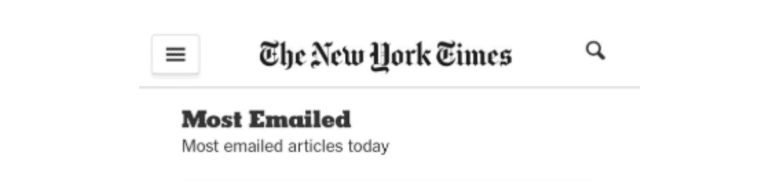 New York Times Most Emailed articles