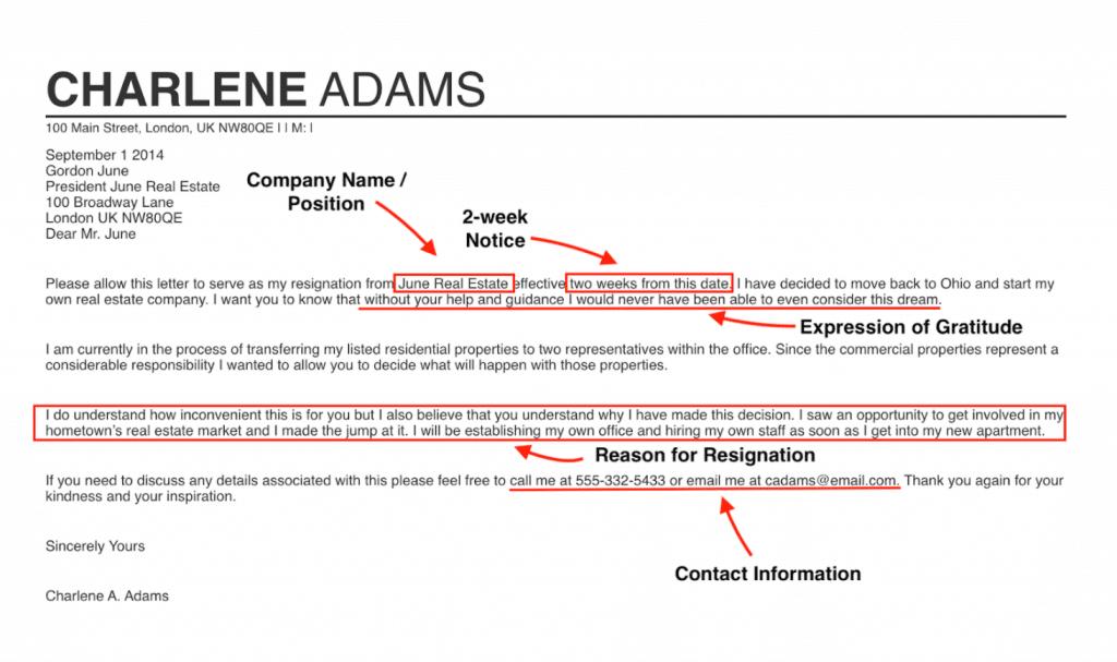 Resignation email example