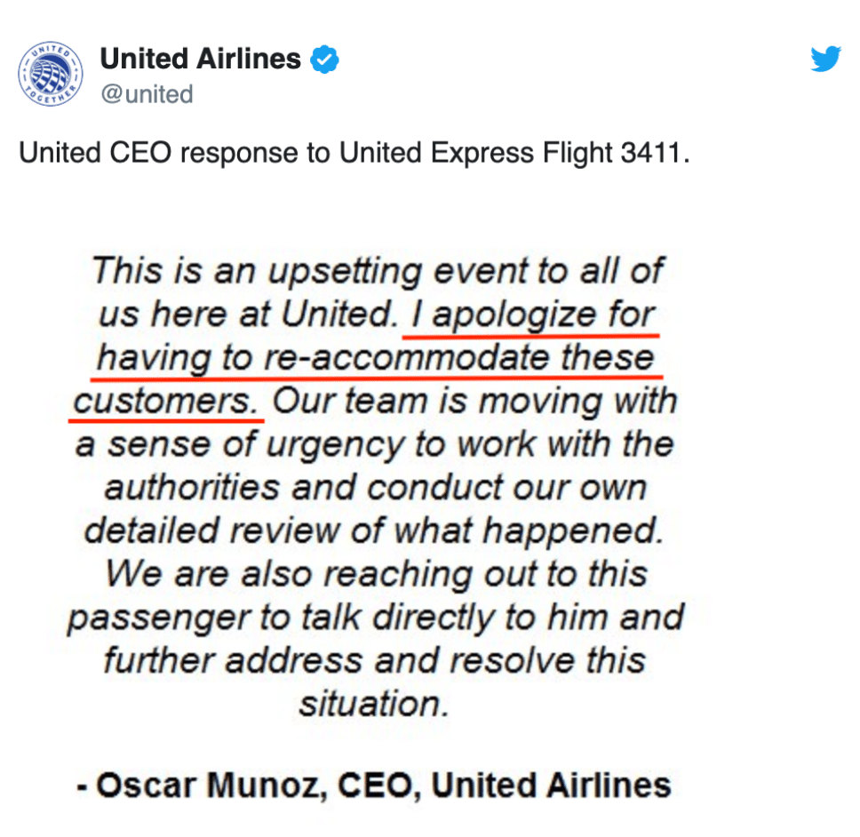 United Airlines apology email example