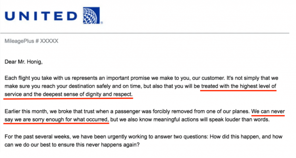 A proper apology email from United Airlines