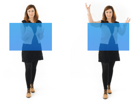 This figure demonstrates the appropriate space your hand gestures should be in.