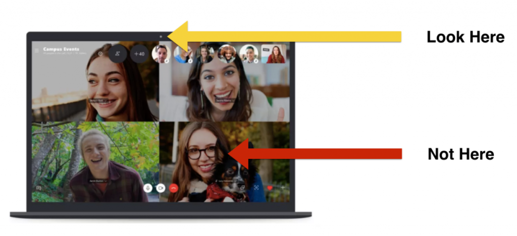 Look at the webcam when doing a video call, not at the screen