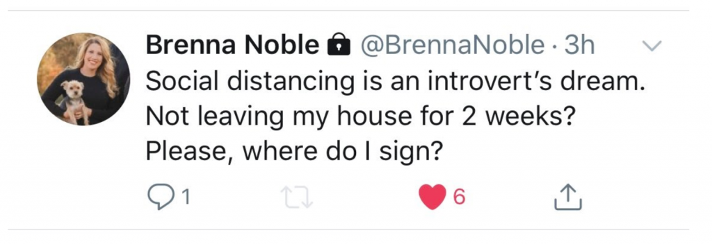 Brenna Noble's Instagram post about social distancing