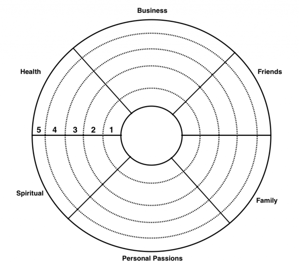 A goal wheel composed of business, friends, family, personal passions, spiritual, and health goals
