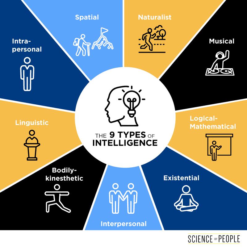 Intelligence infographic that displays the 9 types of intelligences