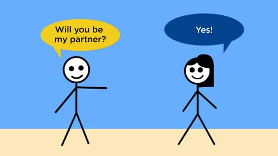 "One stick figure asks, ""Will you be my partner?"" The other one replies, ""Yes!"""