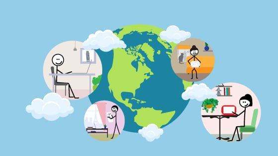 4 stick figures are accessing the computer and working in a virtual team