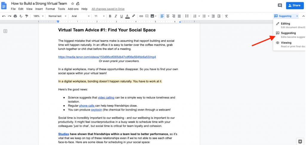 Google Docs Suggesting mode