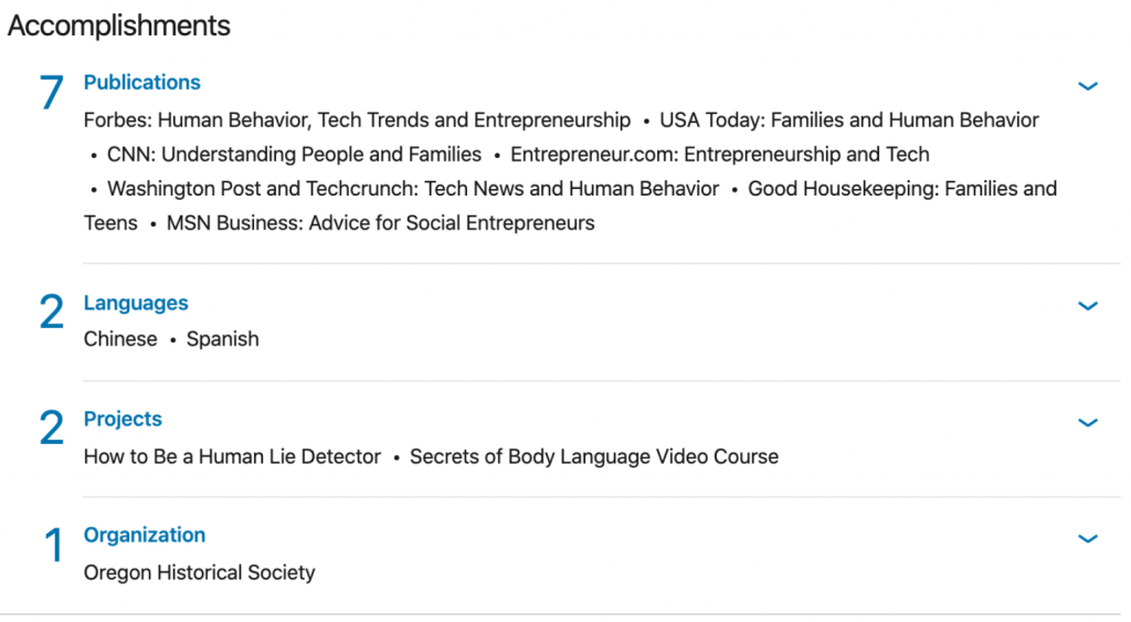 Vanessa's complete LinkedIn profile showing Accomplishments