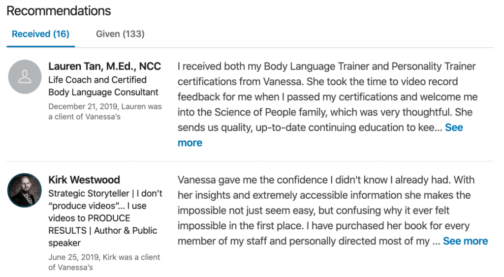 Vanessa's complete LinkedIn profile showing recommendations