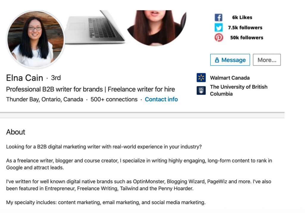 LinkedIn profile by Elna Cain