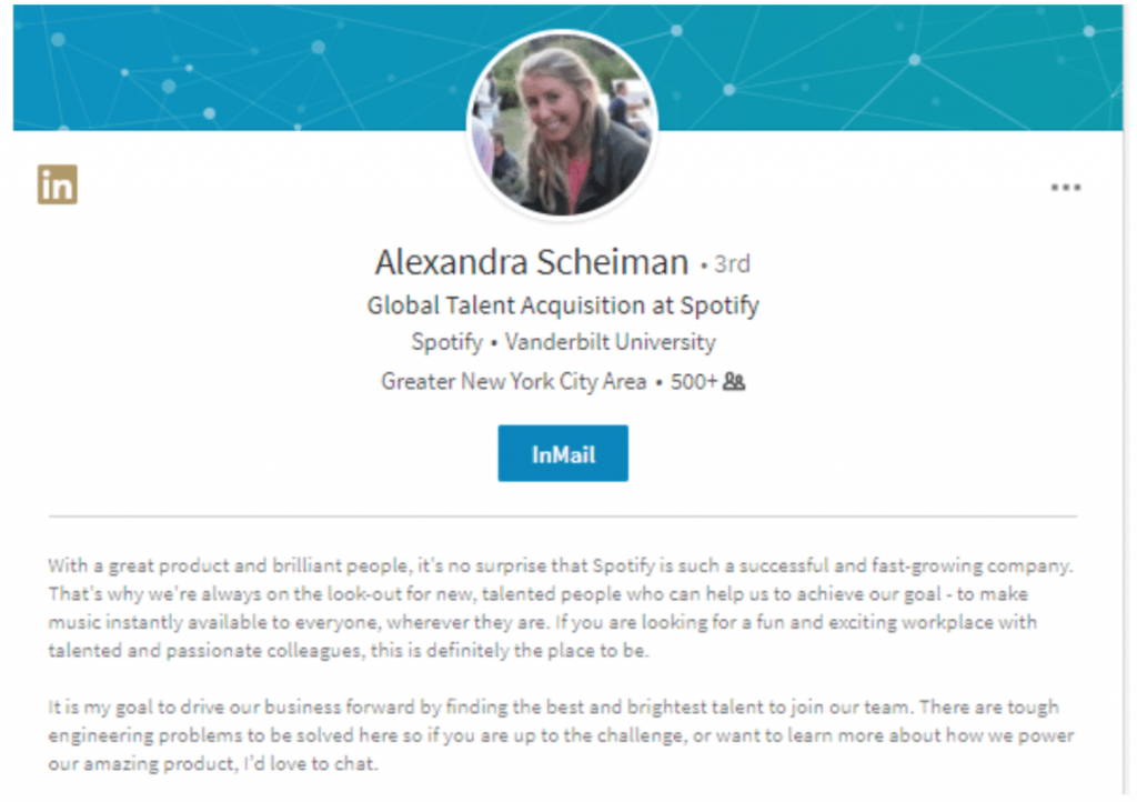 Summary tips for LinkedIn showing Alaxandra Scheiman recruiting potential clients