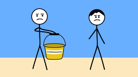 "A stick figure holds out an empty bucket labelled ""Compassion"" to another person."