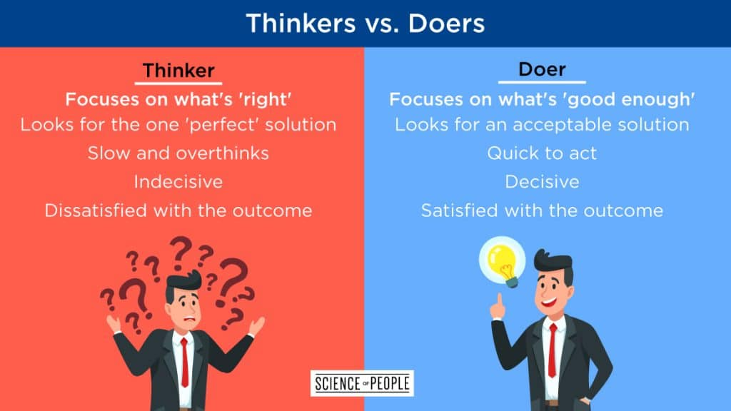 Thinkers vs. Doers chart shows how overthinking can cause anxiety.