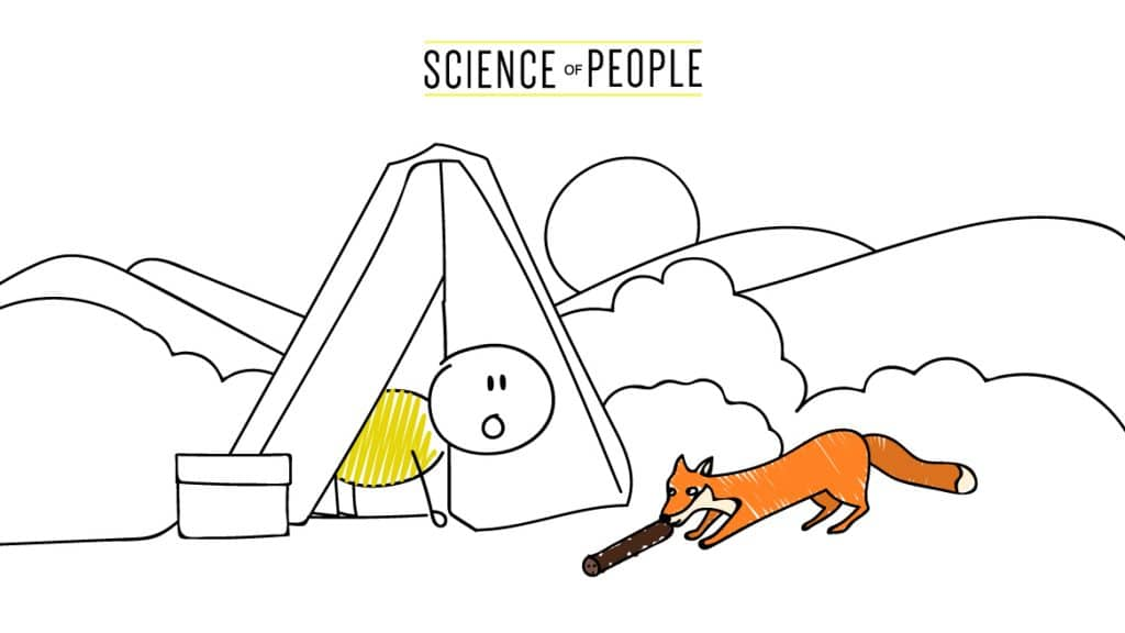 A stick figure in his tent looks at a fox and sees it stealing a stick.