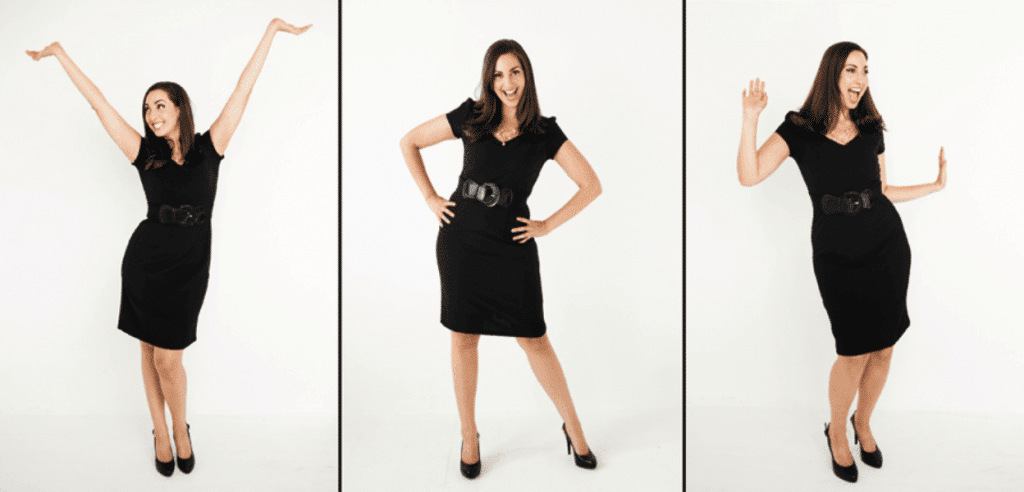 Vanessa poses in 3 different power poses