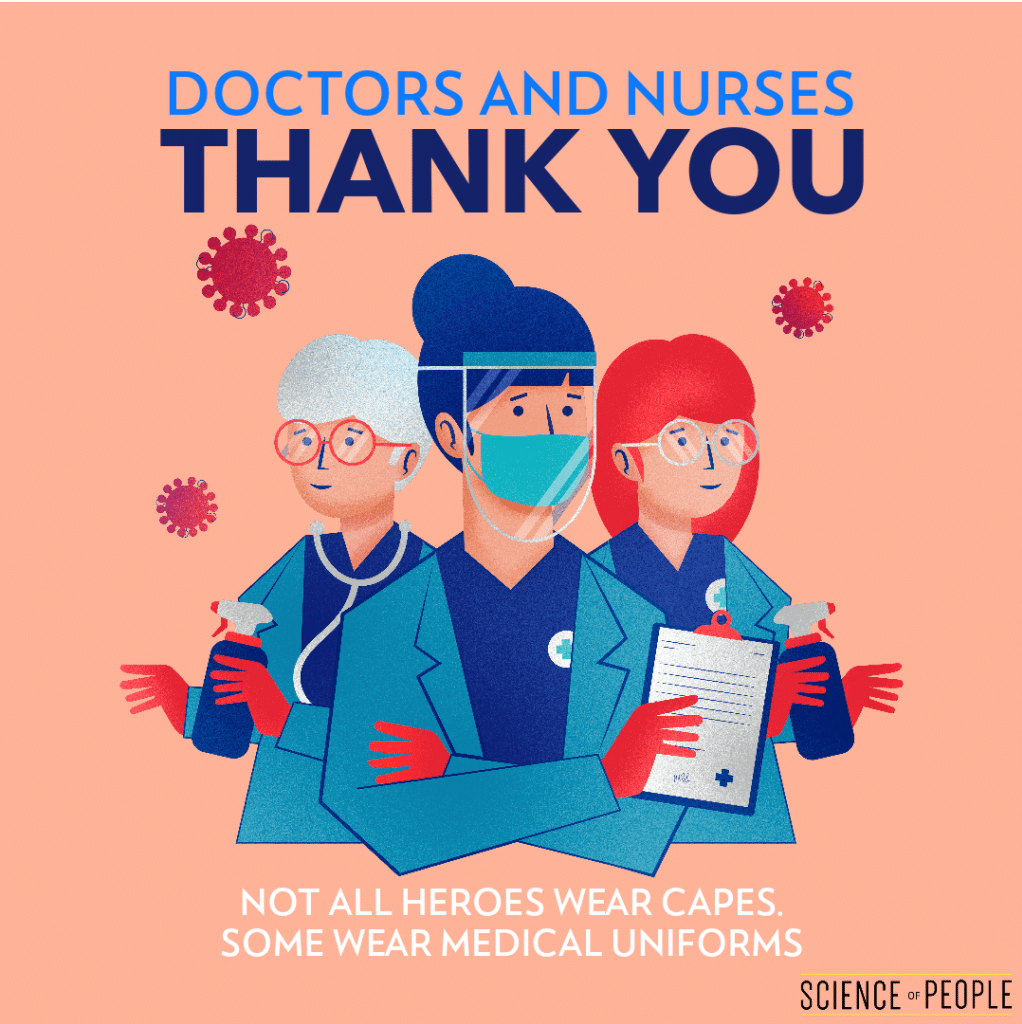 """Thank You image to doctors and nurses: """"Not all heroes wear capes. Some wear medical uniforms."""""""