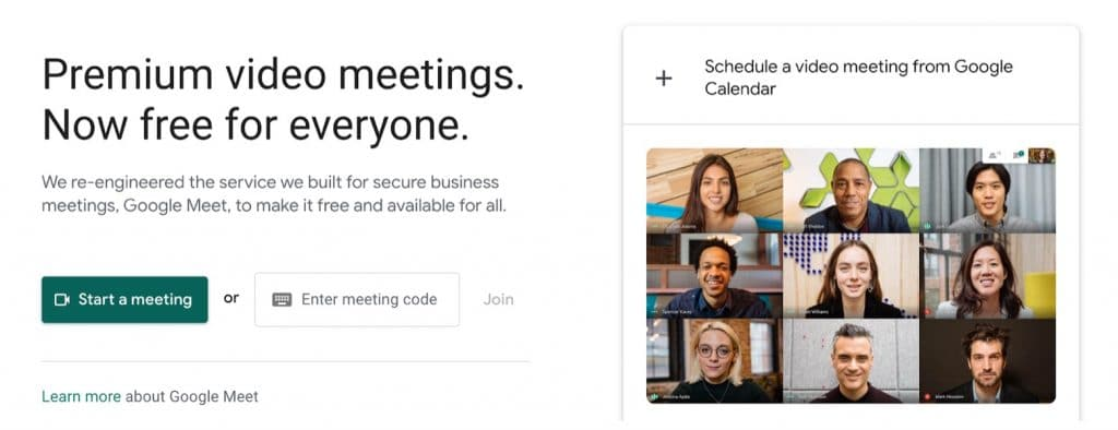Google Meet software for video conferencing