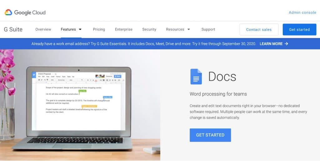 Google Docs document collaboration tool