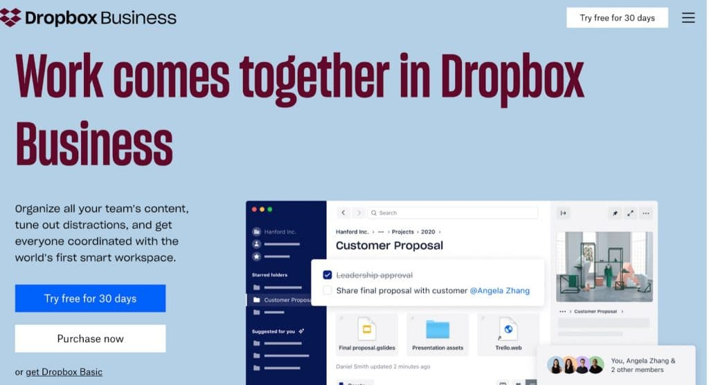 DropBox file sharing tool for remote employees
