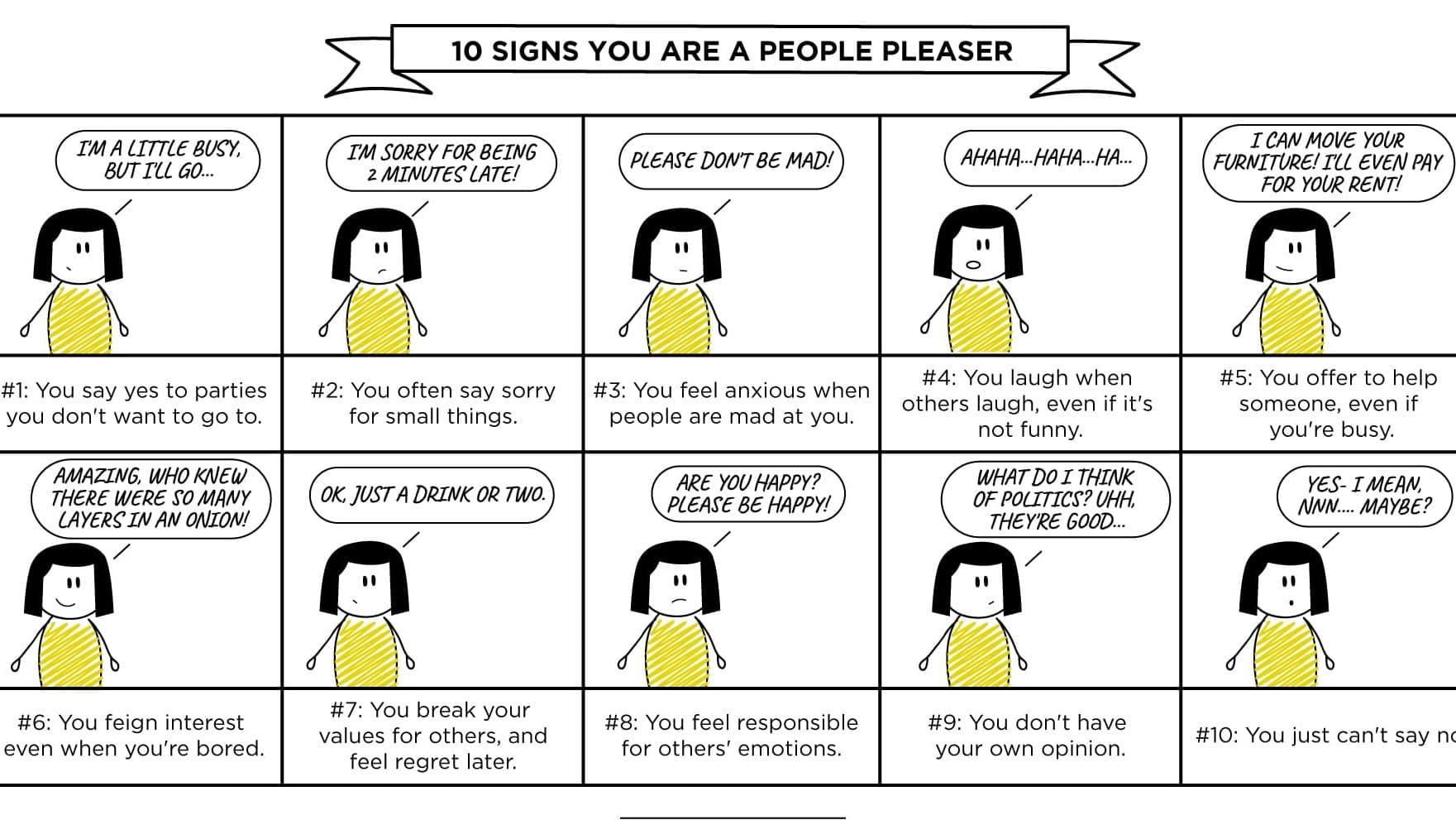 10 signs you are a people pleaser infographic