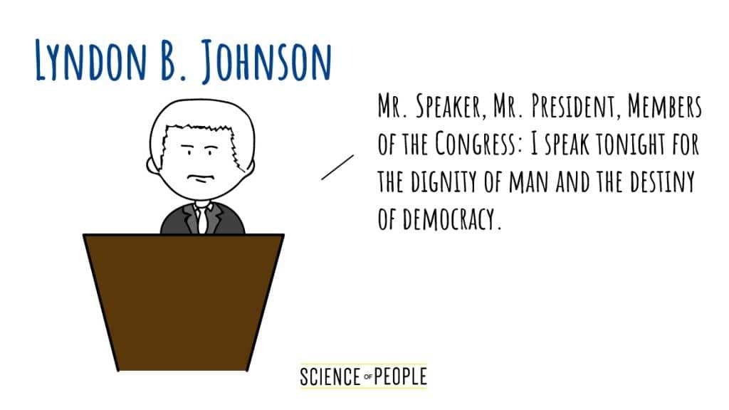 Lyndon B. Johnson's Speech Opening Line