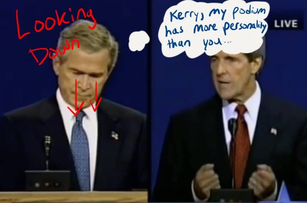 Bush looks down while Kerry is speaking.