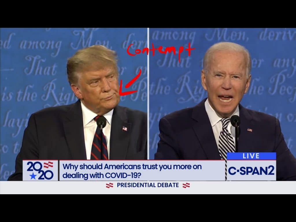 Trump gives a contempt microexpression to Biden