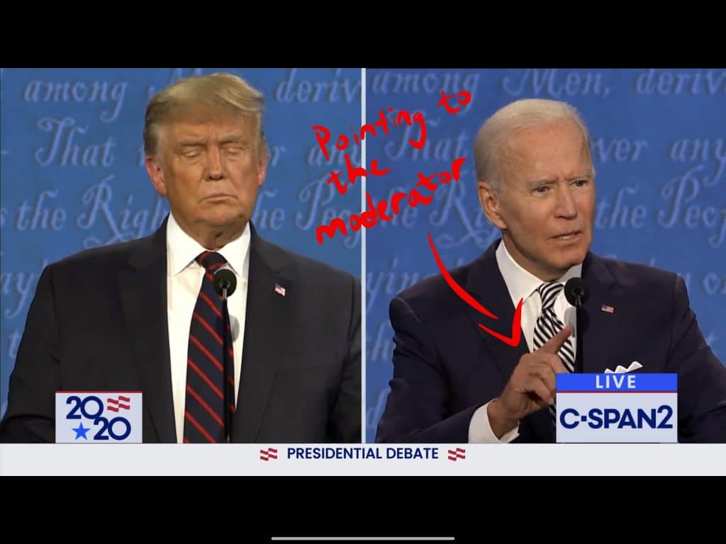 Biden pointing to the moderator