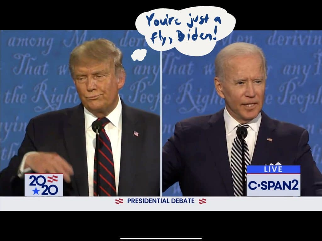 Trump uses the fly swat gesture, downplaying Biden's answer