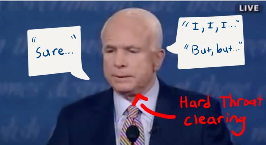 McCain clears his throat, stutters, and gives an unsure answer.
