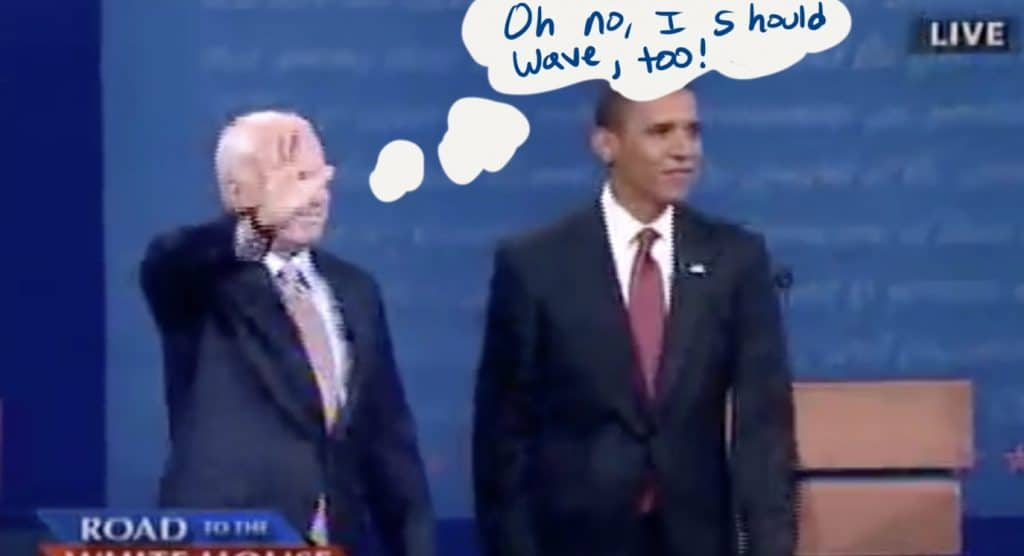 McCain waves after Obama.