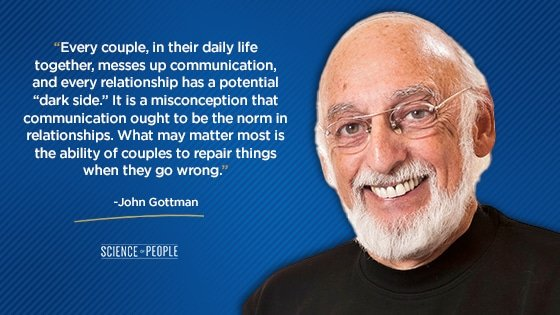 """""""Every couple, in their daily life together, messes up communication, and every relationship has a potential 'dark side.' It is a misconception that communication ought to be the norm in relationships. What may matter most is the ability of couples to repair things when they go wrong."""""""