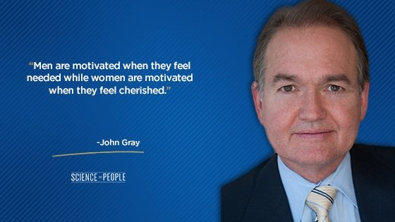 """""""Men are motivated when they feel needed while women are motivated when they feel cherished."""""""