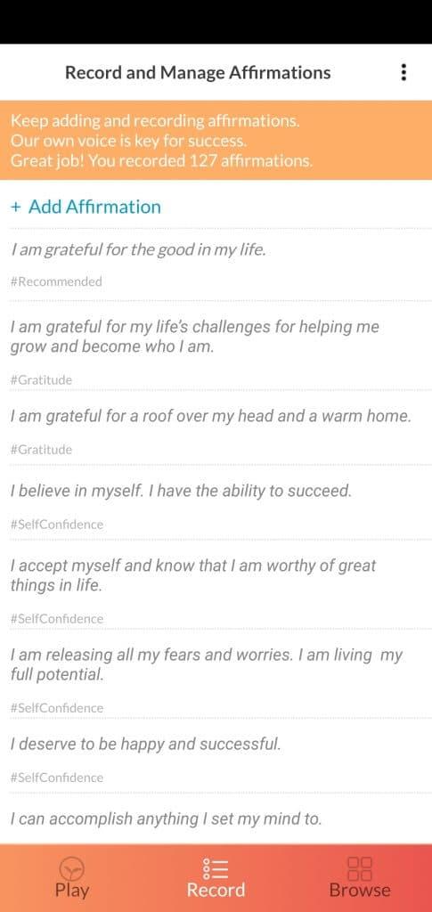 ThinkUp positive affirmation app's recordings