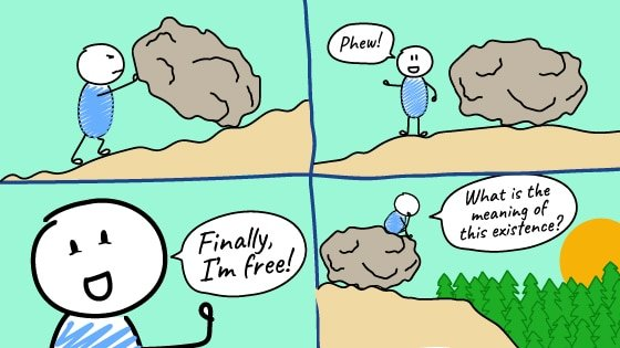 Man in an existantial crisis pushing rock on a hill askimng himself about the sense of life