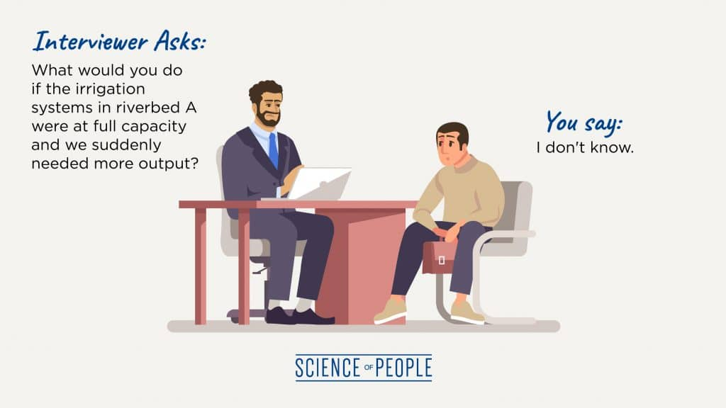 "An interviewer answers, ""I don't know!"" in response to a job interview question."
