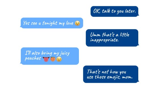 Chat conversation with emoji faces