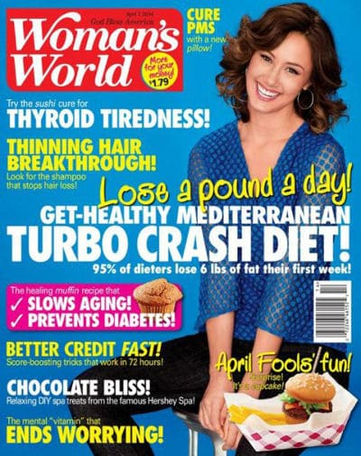Body language of a women tilting her head on a magazine cover