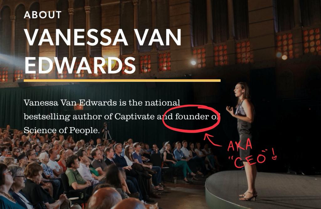 Vanessa Van Edwards on the stage talking