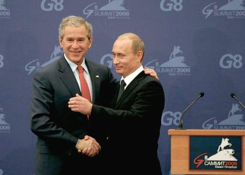 Bush and Putin handshake