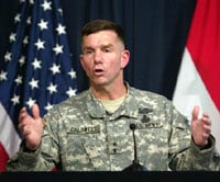 U.S. spokesman Maj. Gen. William Caldwell using this gesture