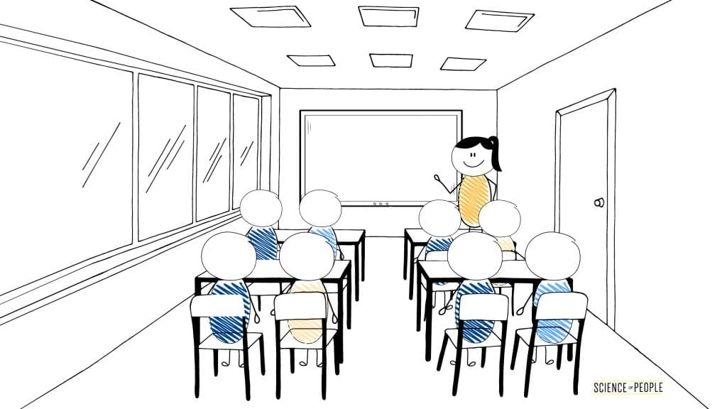 Girl standing in front of the classroom