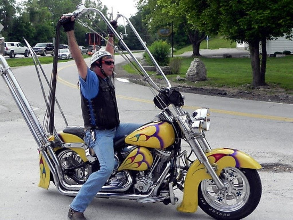 Confident man on a motorcycle