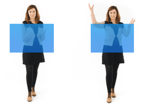 Woman doing hand gesture within the box vs woman doing hand gesture outside the box