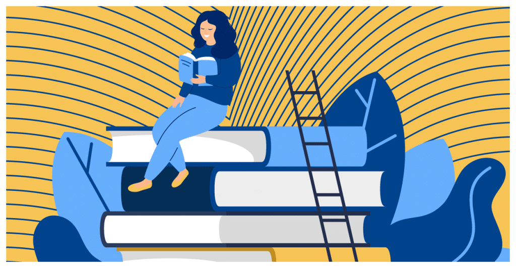 A woman sits on top of books and reads