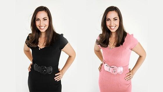 Vanessa in black dress vs Vanessa in pink dress