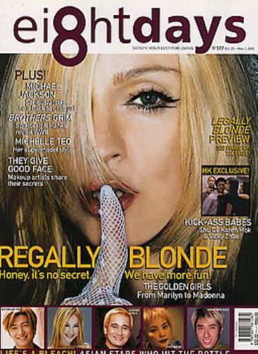 Madonnațs fingertip on lip