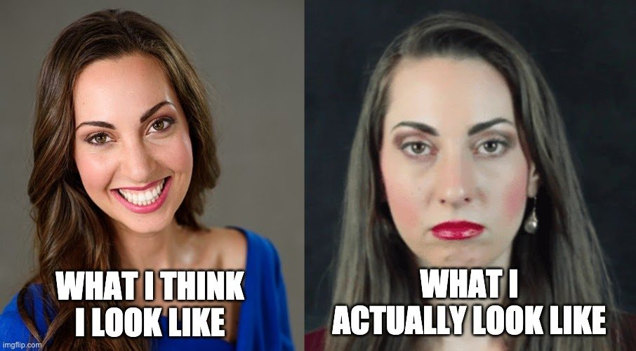 Vannessa with a smiling face and Vanessa with a resting bitch face